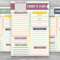 Daily Planner - Daily Organizer - INSTANT DOWNLOAD - Size A4 - Today's plan of action - Easy organizing