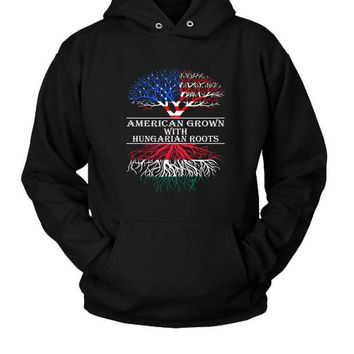 DCCK7H3 American Grown With Hungarian Roots Hoodie Two Sided