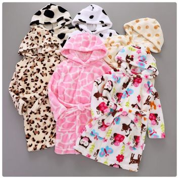 2017 Spring Long Sleeve Baby Pajamas girls Hooded Pijamas Soft Kids Robes Cute Owl Children Robes boys Sleepwear Bathrobes