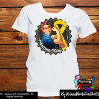 Gold Ribbon Fighting Strong Rosie The Riveter Shirts (Childhood Cancer and Neuroblastoma)