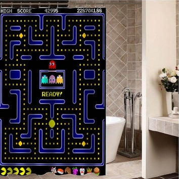 Pac Man Custom Shower CurtainSizes Available Size 36w X 72h