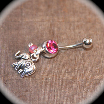 Silver Elephant Belly Button Ring, Belly Button Ring, 14 Gauge Stainless Steel, Navel Jewelry Belly Ring, belly button jewelry body piercing