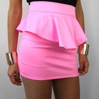 NEON PINK HIGH WAISTED PEPLUM PENCIL TUBE SKIRT XS S M L