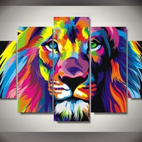 Lion Of Color 5-Piece Wall Art Canvas