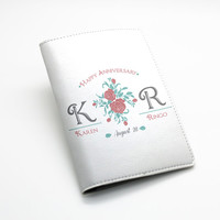 Vintage floral rose flower design, Custom Personalized PU Leather Passport Holder Case Wallet Cover -- custom name monogram, text and date