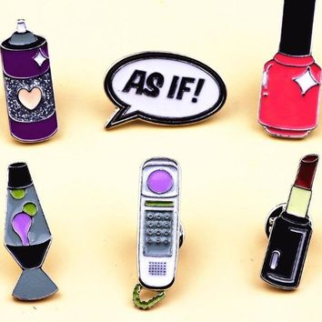 80's Enamel Pins AS IF Phone Lipstick Cute Cartoon Metal Brooch Badges