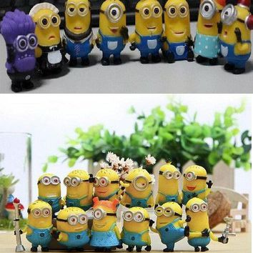 The new style 20 PCS/Set Hot Sales 3D Eye Despicable Me 2 Minions Purple Figure Set PVC doll Toys Gift