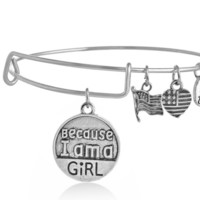 "Alex and Ani  style""Because i am a girl �pendant charm bracelet, a perfect gift !"