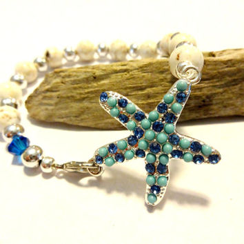 Turquoise Blue Starfish Bracelet, Nautical Bracelet, Beaded Bracelet Made With Caribbean Blue Swarovski Crystal Element Bead, Pretty Jewelry