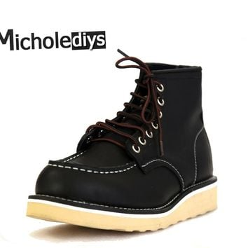 Micholediys Handmade Cowhide Martin Botas Ankle Lace up Breathable Platform Shoes Vintage Retro Work Wing Boots Red Men Shoes