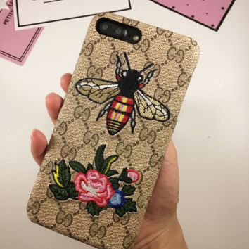 Gucci Fashion Bee Print Roses Embroider iphone 8 8plus iPhone6 6s 6plus 6s-plus iPhone 7 7plus iPhone Phone Cover Case