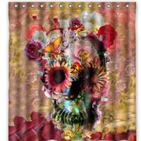 Skull Waterproof Polyester Fabric Bathroom Shower Curtain