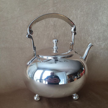 Silver Plate Teapot, Art Deco Style, Three Footed, Vintage Pottery Barn, Round Silver Teapot, Quality Teapot, Tea Maker, Art Deco Kitchen
