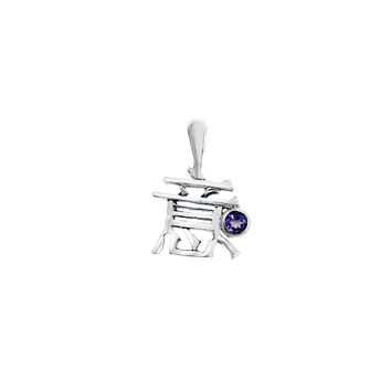 Kanji Generosity February Sterling Silver Amethyst Necklace