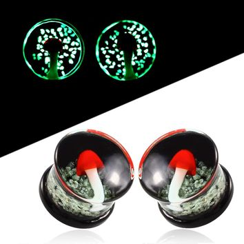 New Red Trippy Mushroom Glow In Dark Clear Glass Plugs 6-16mm 1Pair