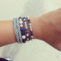 Women wrap grey leather bracelet with Swarovski crystal and Swarovski crystal pearls Layered wrap bracelet women