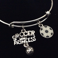 Soccer Princess Expandable Silver Charm Bracelet Adjustable Sports Bangle Teenager Gift