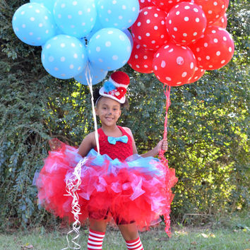 Dr Suess Birthday TuTu Dress-Cat In The Hat-Girls 1st Birthday Outfit-Girls 2nd Birthday Outfit-Red Turquoise TuTu with Mini Top Hat