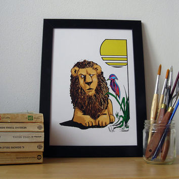Lion with coloured bird in the jungle - Digital print, A4 format