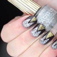 Polish All the Nails: Review: Art Deco mani using Floss Gloss Stun, Dimepiece and Partybruise!