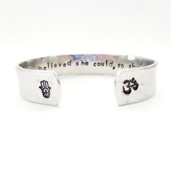 Hamsa Om Secret Message Cuff Bracelet, She Believed She Could, So She Did, Hammered Texured, Customizable