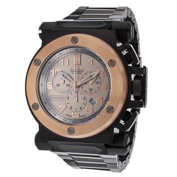 Invicta 14514 Men's Jason Taylor Chronograph Rose Gold Bezel Titanium Dial Black IP Steel Watch