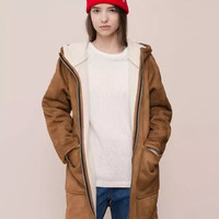 Brown Faux Suede Hooded Zipper Parka Jacket With Pocket