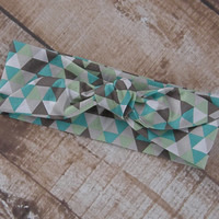 Ready To Ship Teal Gray Green White Triangle Designer Fabric Top Knot Headband Head Tie Headwrap