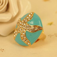 High Quality Fashion Alloy Costume Jewellery Ring For Women Star Fish Rhinestone Round Enamel Ring US 6 Light Blue