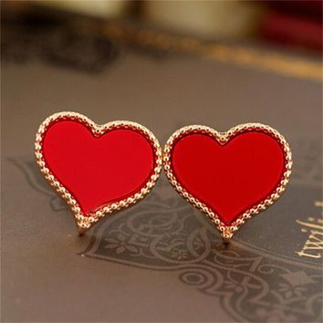 ES135 Heart Full of Love Drip Stud Earrings For Women Fashion Phnom Penh European and American Jewelry