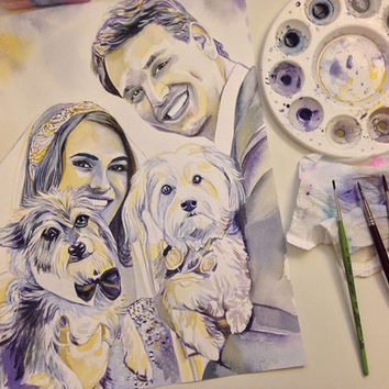 WEDDING gift for COUPLE with DOGS - Wedding with dogs, wedding dog dress bow veil - wedding gift for him for her wedding portrait watercolor