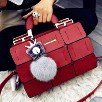 high quality suture Boston PU leather hand/shoulderbag
