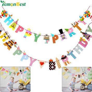 LMFYN5 Birthday Party Decoration Banner Colorful Funny Happy Birthday Banner Letters Shaped Kids Birthdays Party Supplies Home Decor