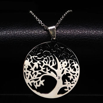 2017 Stainless Steel Tree of Life Necklaces Tree Bohemian Necklace & pendants Jewellery For Women or Men collane donna N611212