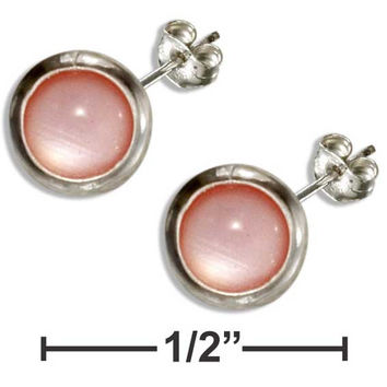 STERLING SILVER 5MM ROUND PINK MOTHER OF PEARL POST EARRINGS