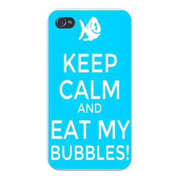 Apple Iphone Custom Case 4 4s Snap on - 'Keep Calm and Eat My Bubbles' White Fish on Blue