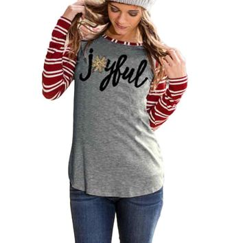 Women T-Shirt Cotton blend Long Sleeve Striped Joyful Long Sleeve Baseball Shirt