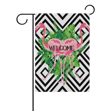 ALAZA Yard Flag Home Decor 12x18 Inch,Hand Drawn Pink Flamingo Tropical Leaves Double-Sided Welcome Garden Flag Polyester Great Outdoor Decorations
