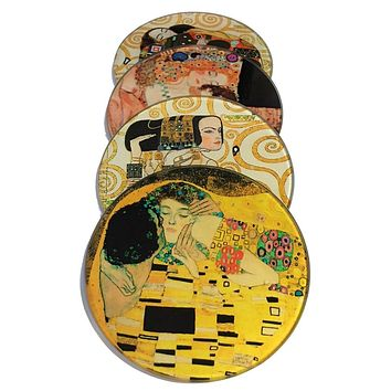Klimt Paintings Glass Drink Bar Coffee Table Coasters Set of 4 with Storage Stand