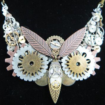 steampunk owl necklace statement necklace steampunk jewelry owl necklace fantasy necklace whimsical necklace