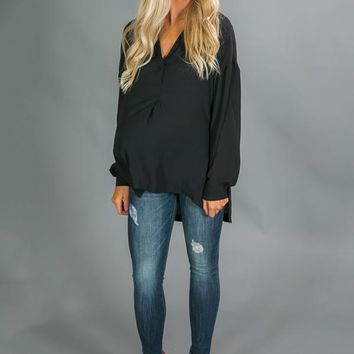 Business Class Shift Top in Black