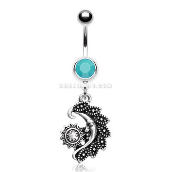 Vintage Tribal Sun & Moon Belly Button Ring (Turquoise)