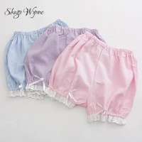 Shugo Wynne Kawaii Pumpkin Shorts Lolita Sweet Women Bowknot Lace Plaid Elastic Waist Bloomers Candy Colors Bottoming Shorts