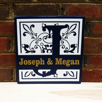 "Custom Family Name Sign Engagement, Wedding or Anniversary Gift 11""x 11"" Ready to Hang"