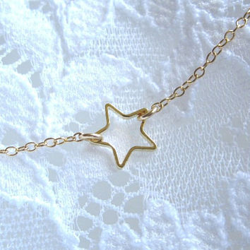 Tiny Gold Star Ring Necklace - simple dainty everyday wear by Yameyu