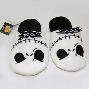 The Nightmare Before Christmas Jack Skellington Soft Plush Stuffed Slippers Household Slippers Cotton Shoes Costume Cartoon Gift