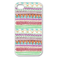 Apple iPhone 4 4G 4S Cute Aztec Chevron Pattern Light Vintage WHITE Sides Slim HARD Case Skin Cover Protector Accessory Vintage Retro Unique AT&T Sprint Verizon Virgin Mobile