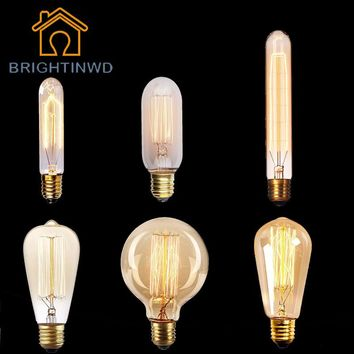 220V Edison Light Bulb E27 Ampoule Vintage Bulb Lamp Retro 40W Incandescent Carbon Filament Bulb ST64 Home Decorative Lighting
