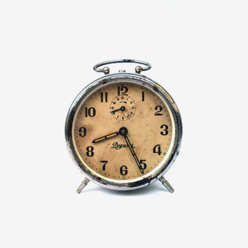 Vintage soviet alarm clock Rodina retro clock USSR collectible metal clock mid century mechanical clock russian table clock wind up alarm