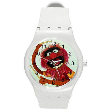 "Muppet Drummer "" Animal""on a White Plastic Watch ...New ..Great for Kids"